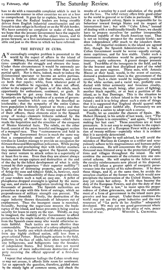 The Sunday Review 1896 Winston Church Hill