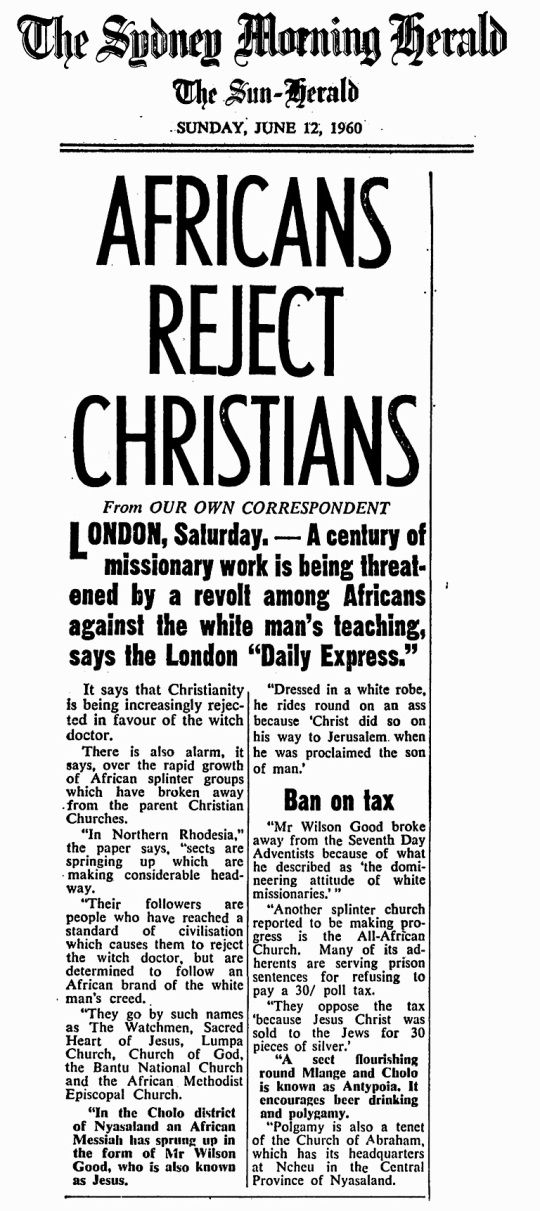 Christians Africa 1960