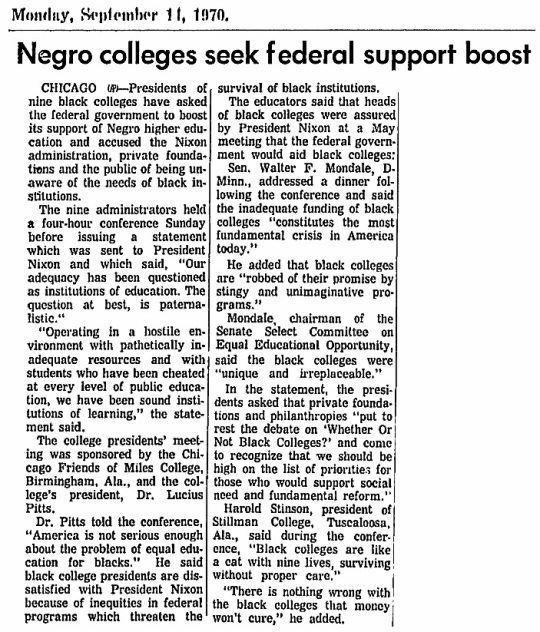 Black College funding 1970