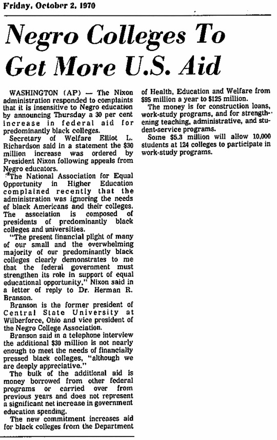 Nixon funding to black colleges 1970