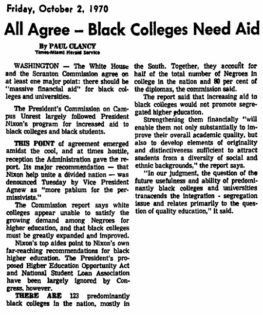 Nixon Predominantly Black Colleges 1970