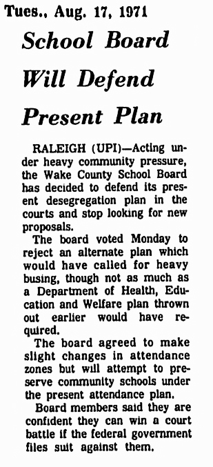 Wake County -Raleigh 1971