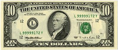 10 dollar 1999