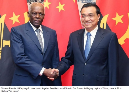 Chinese President Xi Jinping and Angolan President Jose Eduardo dos Santos