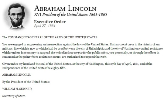 Abraham Lincoln April 27 1861