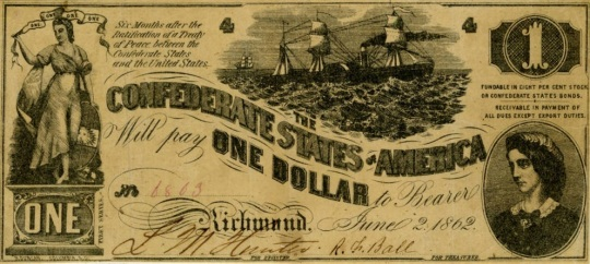 Currency Confederate States of America 1 Dollar