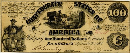 Currency Confederate States of America 100 Dollars