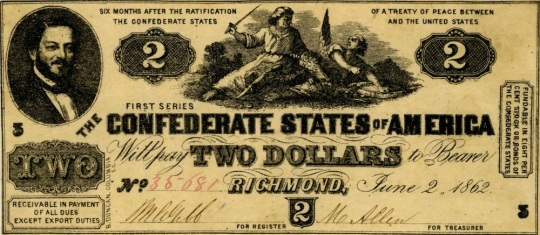 Currency Confederate States of America 2 Dollars