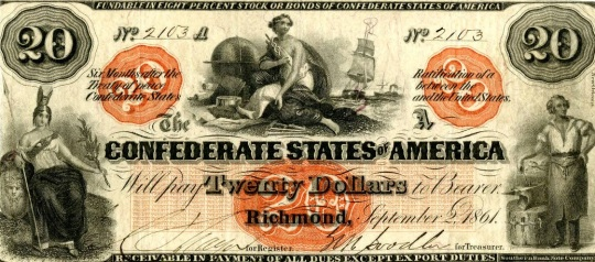 Currency Confederate States of America 20 Dollars