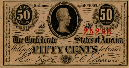 Currency Confederate States of America 50 Cents