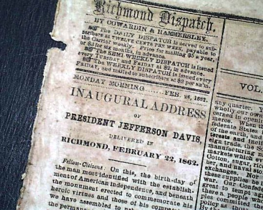 Jefferson Davis Inaugural Address 1862 -01