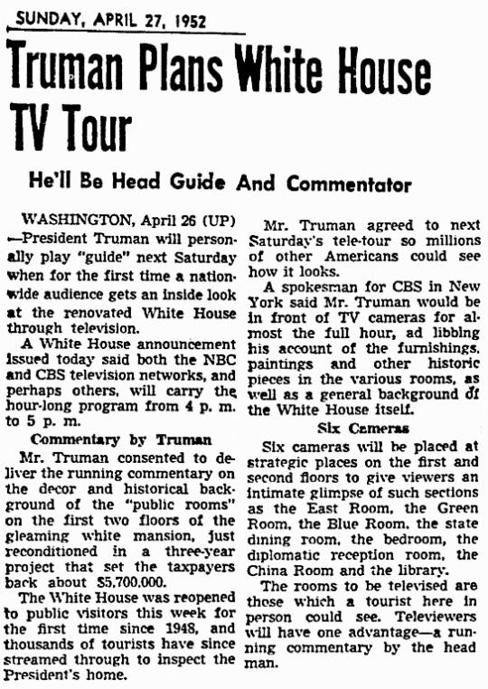 Truman White House 1952 Tour