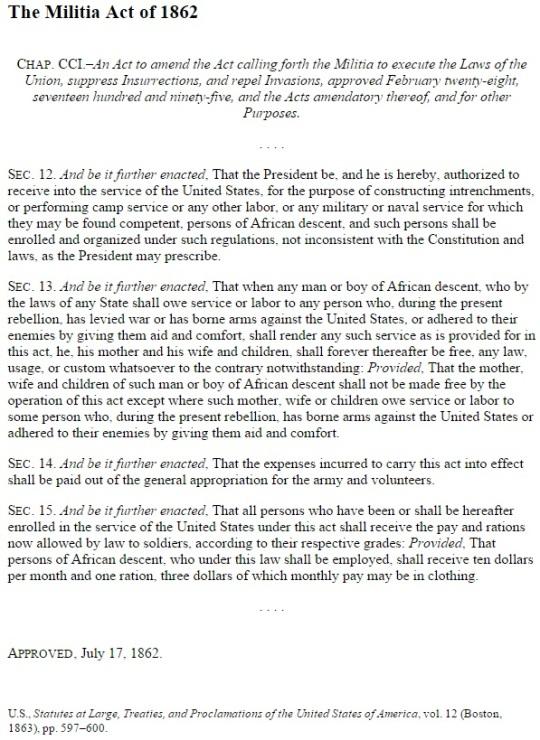 United States of America Black Civil War Soldiers Militia Act 1862