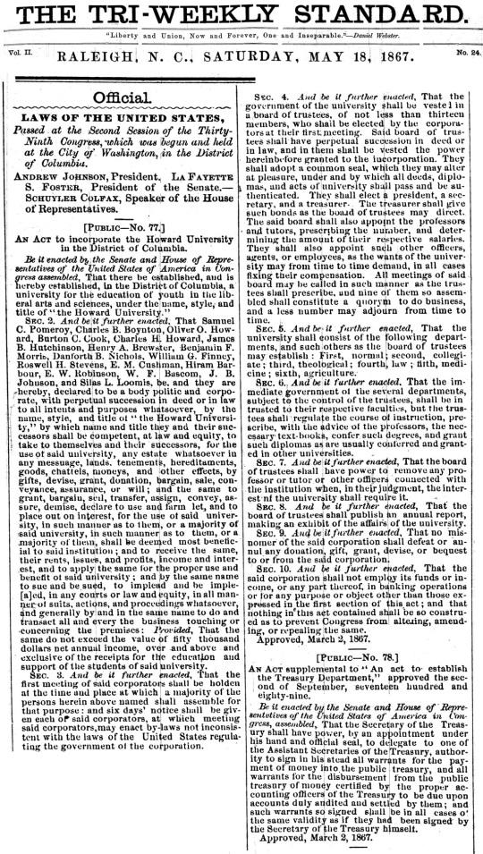 1867 Howard University Charter