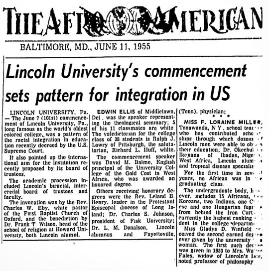 1955 Lincoln University PA