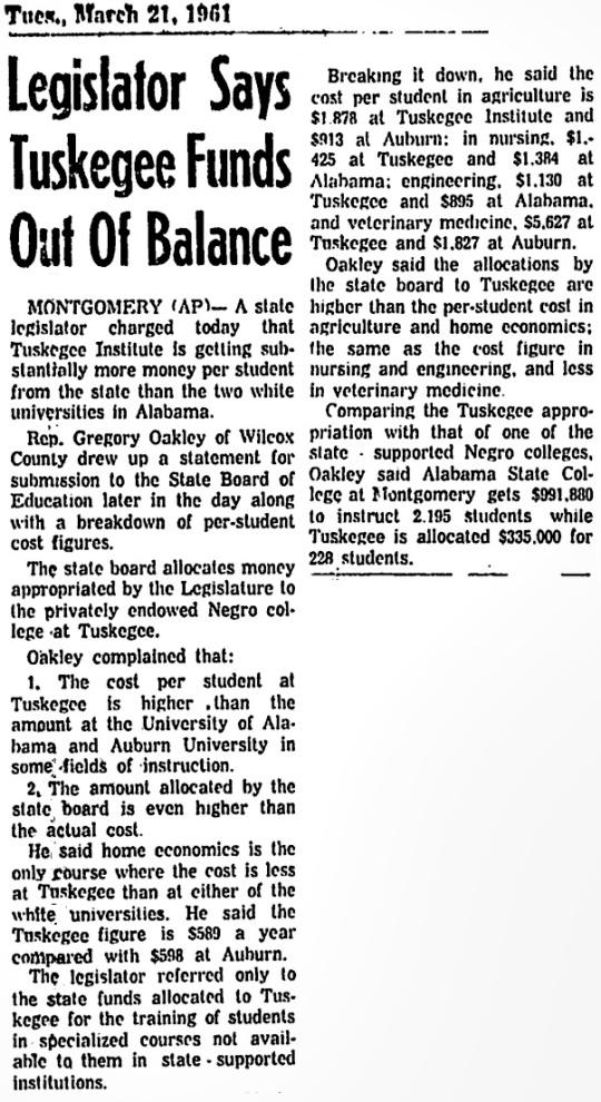 1961 Tuskegee Funding
