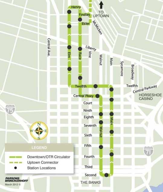 Cincinnati SORTA Streetcar Map