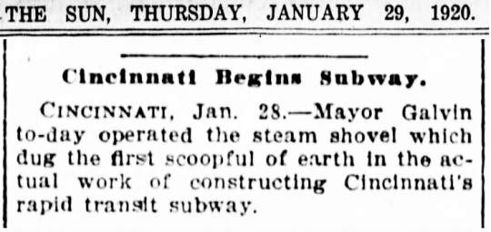 Cincinnati Subway 1920