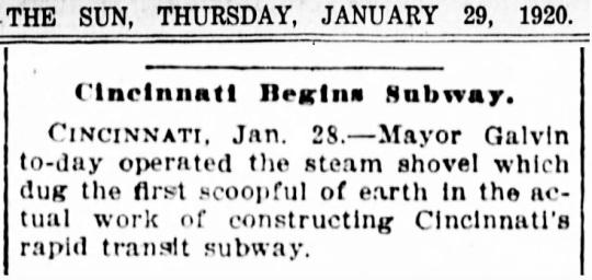 Cincinnati Subway 1920