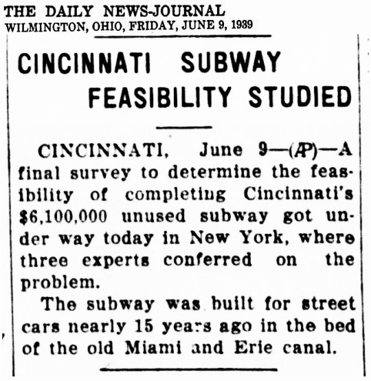 Cincinnati Subway 1939