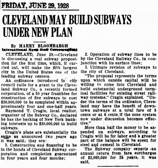 Cleveland Subway 1928