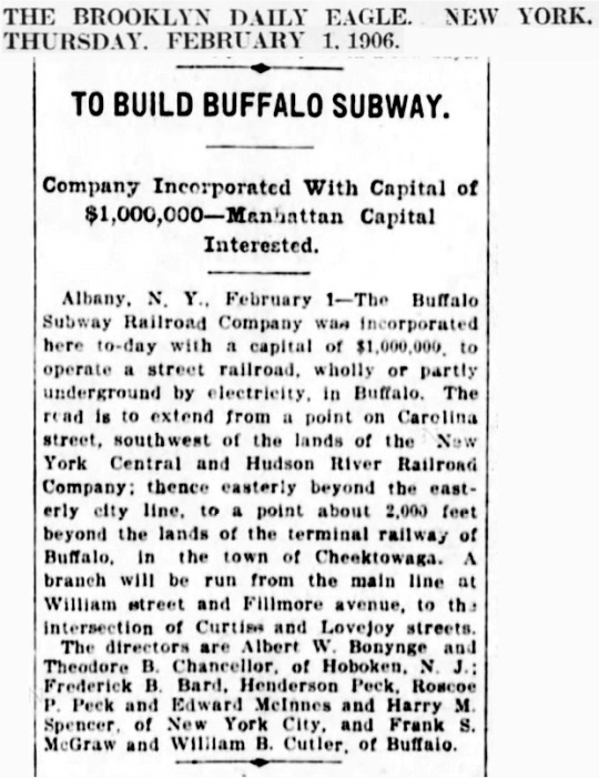 Buffalo Subway 1906