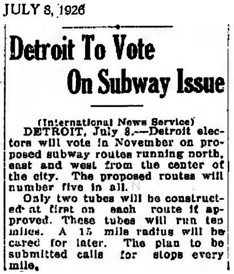 Detroit Subway 1926