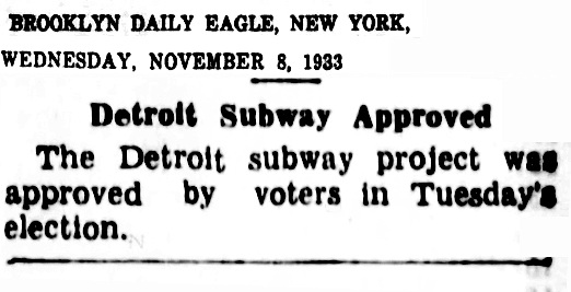 Detroit Subway 1933