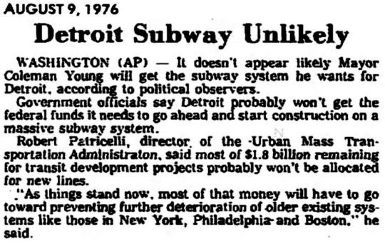Detroit Subway 1976