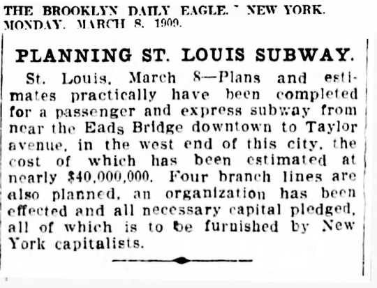 St Louis Subway 1909