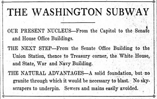 Washington Subway 1909