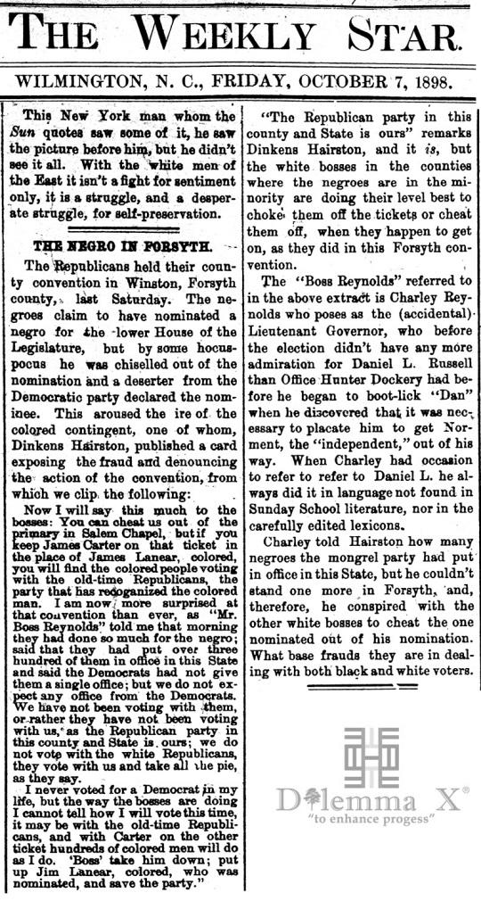 1898 Blacks Expulsion Wilmington Race War