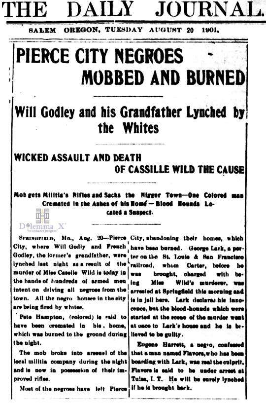 1901 Blacks Expulsion Pierce City