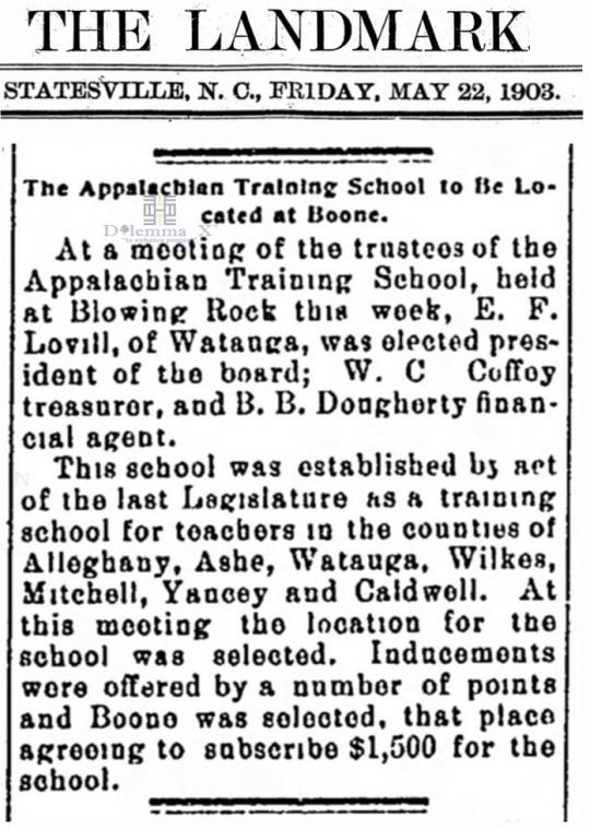 1903 Appalachian State University