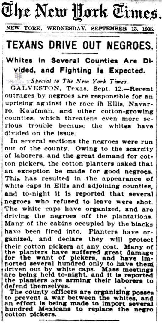 1905 Blacks Expulsion
