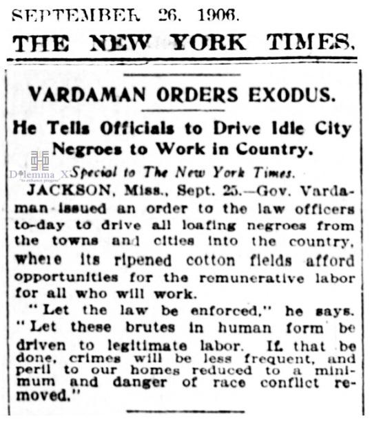 1906 Blacks Expulsion -Jackson Mississippi