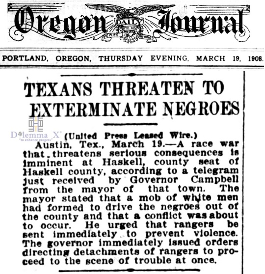 1908 Blacks Expulsion Texas