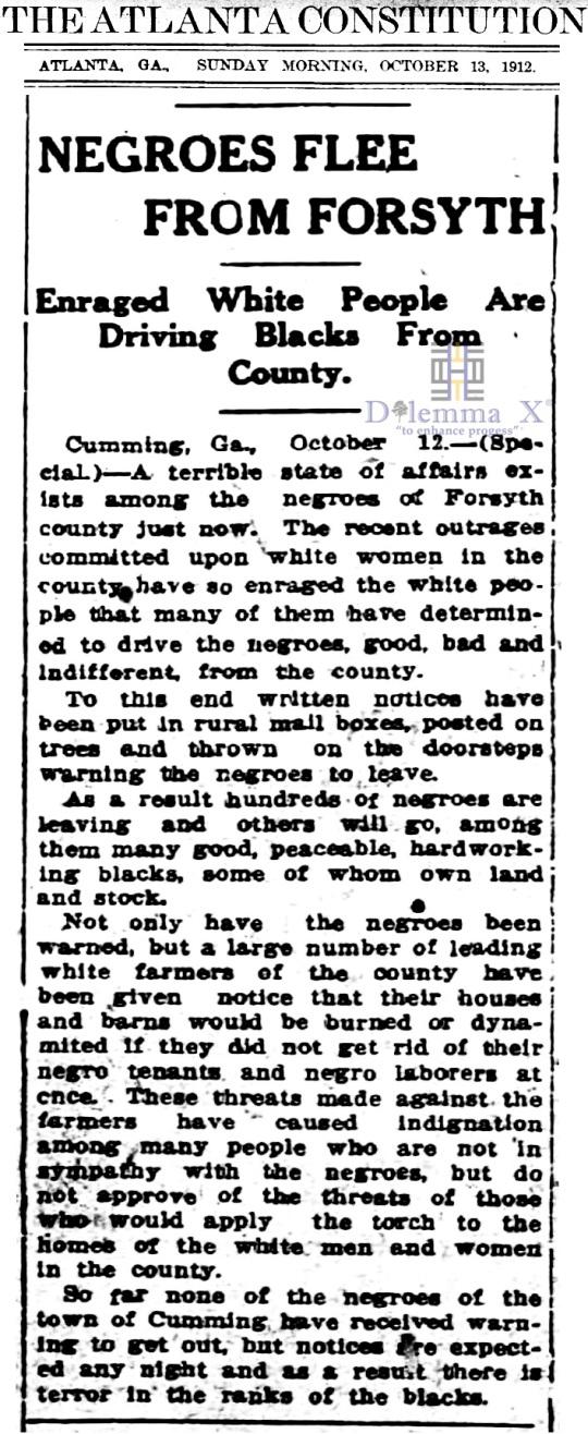 1912 Blacks Expulsion Forsyth County