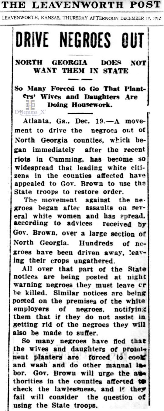 1912 Blacks Expulsion North Georgia