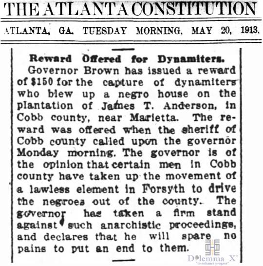 1913 Blacks Expulsion Cobb County