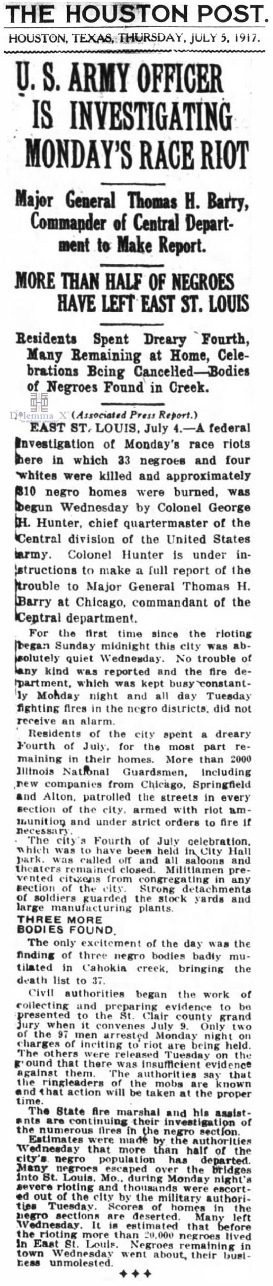 1917 Blacks Expulsion East St Louis