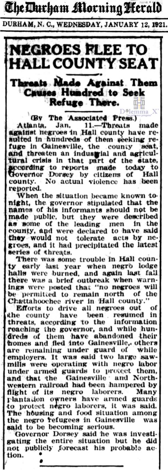 1921 Blacks Expulsion Hall County