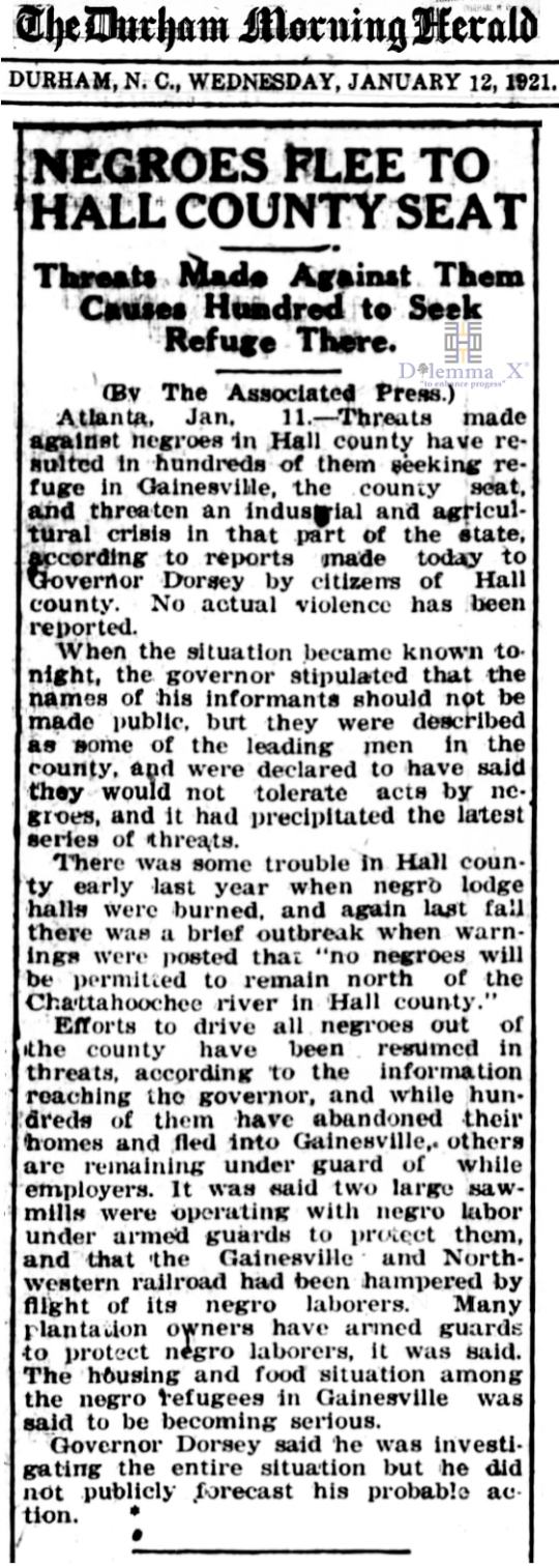 1921 Blacks Expulsion Hall County