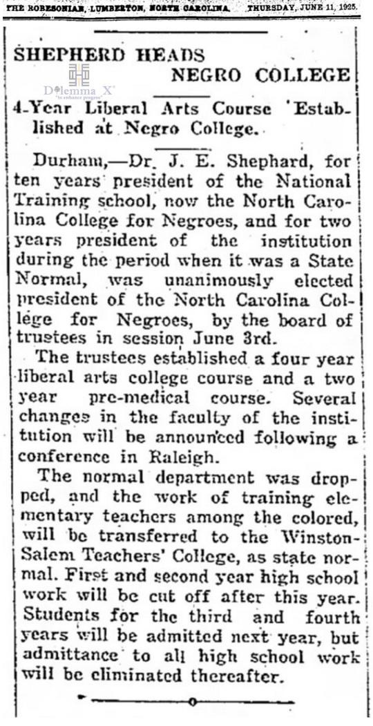 1925 NCCU Winston-Salem State University