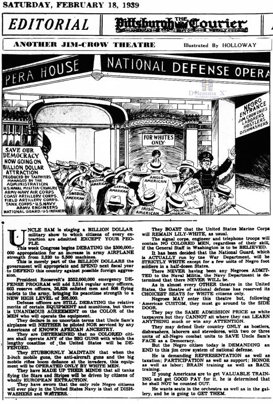 1939 US at War and Jim Crow
