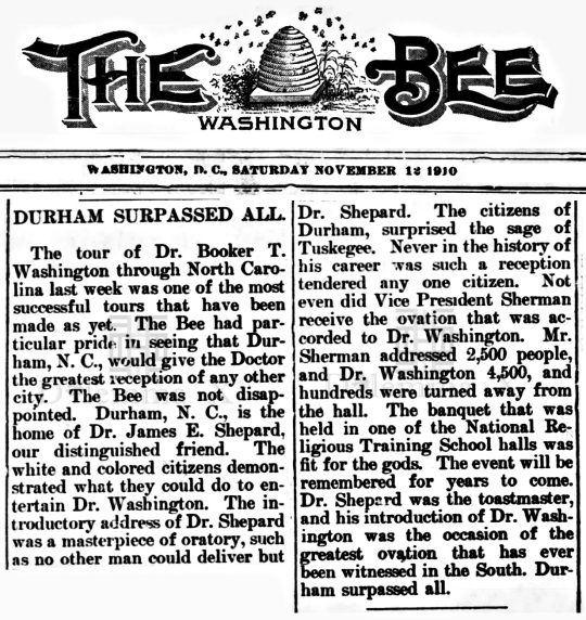 Booker T Washington Speaks in Durham and at NCCU in November 1910
