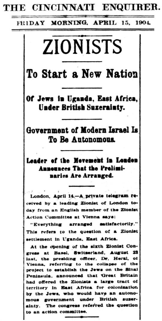1904 Jews Uganda Zionist