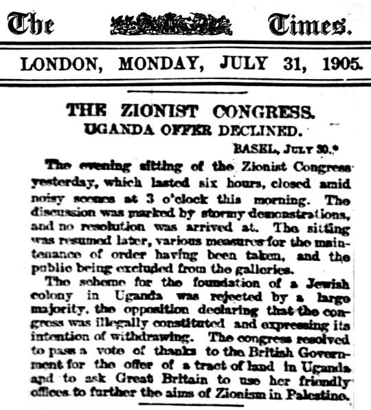 1905 Jews Uganda Zionist Congress Vote