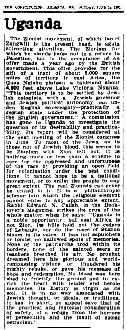 1905 Jews Uganda Zionist