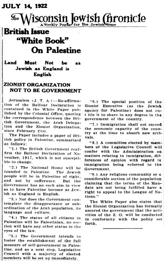 1922 Jews Palestine
